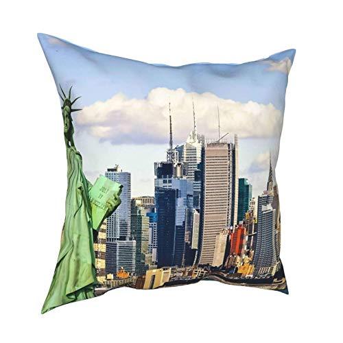 Funda de almohada Funda de cojín Estatua de la libertad de Nueva York Funda de almohada de lujo Funda de cojín Decoración decorativa para el hogar para sofá Sofá Dormitorio Sala de estar, 18 x 18 pulg