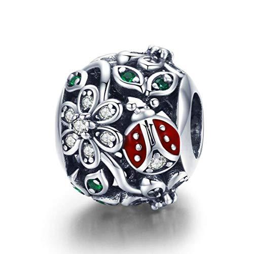 YaShuo Jewellery - Ciondolo a forma di tartaruga, in argento Sterling originale, per braccialetti Pandora e Argento, colore: Charm a forma di coccinella e fiori., cod. S3696
