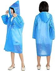 Idefair - Chubasquero portátil de EVA impermeable con capucha y mangas largas, plegable para niños y niñas, 2 unidades