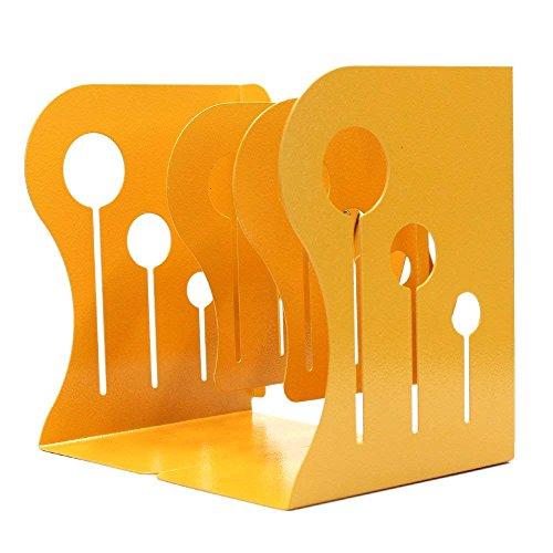 Fermalibri in metallo con supporto regolabile per libri, resistente, antiscivolo, misura M, colore: giallo