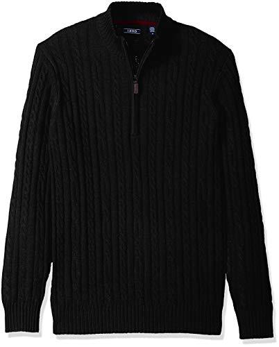 IZOD Men's Premium Essentials Solid Quarter Zip 7 Gauge Cable Knit Sweater, Black, Small