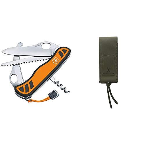 Victorinox Taschenmesser Hunter XT Grip (6 Funktionen, Feststellbare Waidklinge, Kordel) orange/schwarz & Zubehör Gürteltasche Nylon oliv HunterPro Mantel, One Size