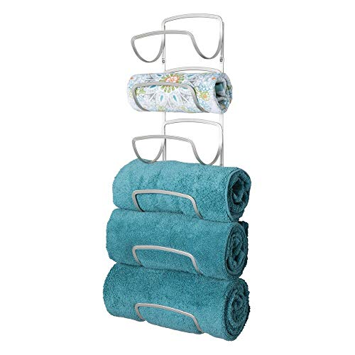 mDesign Modern Decorative Six Level Bathroom Towel Rack Holder & Organizer, Wall Mount - for Storage of Washcloths, Hand Towels - Satin