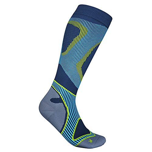 BAUERFEIND Men's Run Performance Laufsocken, Kniestrümpfe mit Targeted Compression Zone, Blau, 44-46 / XL