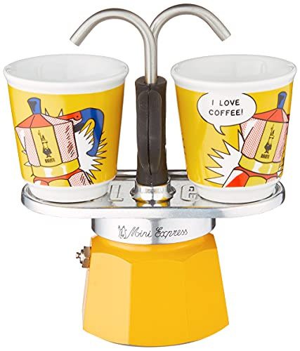 Bialetti Mini Express Lichtenstein, Coffee Maker 2-Cup + 2 shot glasses, Aluminum