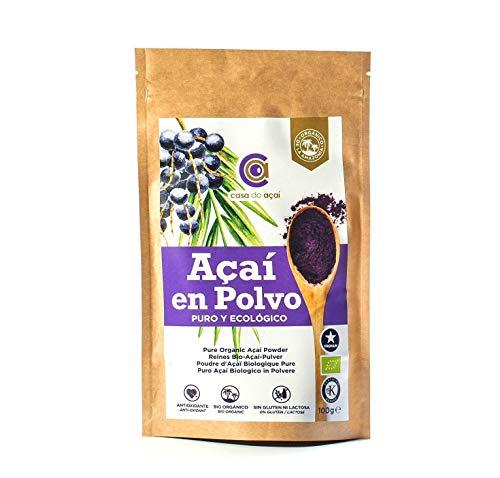 Açaí puro biologico in polvere 100 g, Pure Açaí Berry Organic Powder biologico, bacche di acido organico in polvere, 100% di polpa di acai, superalimento da coltivazione nativa dell'amazzonia (200g)