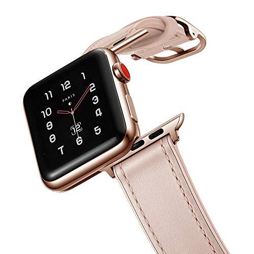 Fengyiyuda Kompatibel mit Watch Armband 38mm/40mm Apple Armband, Leder Sport Ersatzband Armband Kompatibel IWatch Series 6/SE/5/4/3/2/1,Rosa