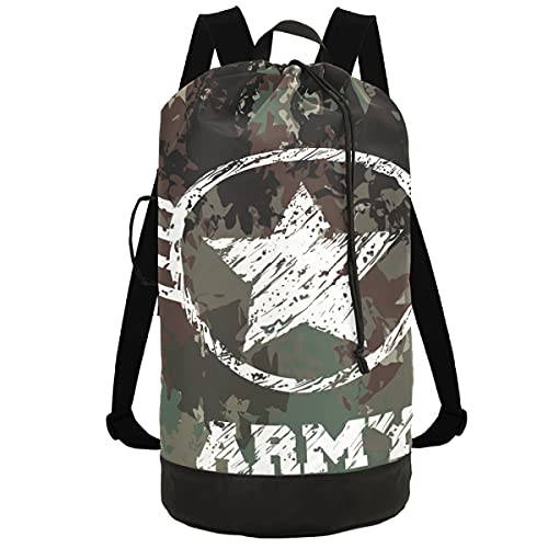 Military Camouflage Army Laundry Backpack Bag with Drawstring Closure Extra Large Clothes Hamper for College Dorm, Apartment