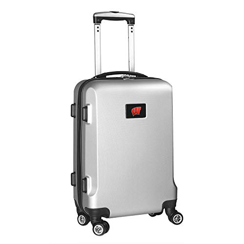 Denco NCAA Wisconsin Badgers Carry-On Hardcase Luggage Spinner, Silver