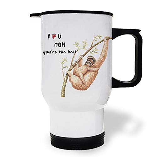 15 OZ Stainless Steel Car Cup with Handle, Animal I Love You Mom You're the Best Travel Coffee Mug Cup Heated Thermos for Heating Water, Coffee, Tea Milk, Gift