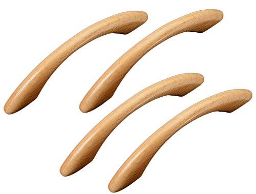 Leisial 4 Stück Holz Möbelgriff BA 96 mm Schubladengriff Holz Schrankgriff Holz Küchengriffe Bügelgriff