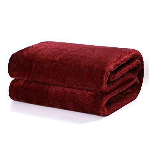 Besch Coperta in flanella per divano e letto in microfibra extra morbida (bordeaux, 220 x 240 cm)