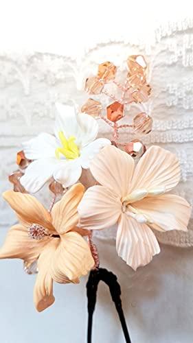Horquillas para el Pelo-Flores Beige de Porcelana-Tocado Comunión - N