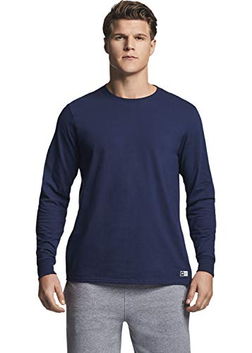 Russell Athletic Men's Cotton Performance Long Sleeve T-Shirts, Navy, Small