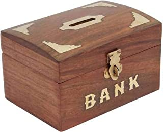 Hubwooden Good Wooden Money Bank Square Shape Coin Box Brown Color Dolphin with Lock Coin, Wooden Piggy Bank, Safe Storage...