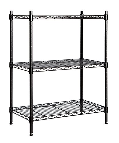 STORAGE MANIAC Large 3-Tier Shelving Unit, Heavy Duty Storage Rack Utility Shelf with Adjustable Leveling Feet and Casters, Black