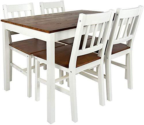 Conjunto de mesa: mesa y 4 sillas de madera natural, mesa de comedor de cocina, aspecto fuerte con aspecto robusto y moderno,White walnut
