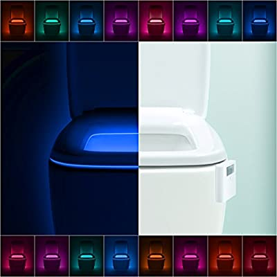 LumiLux Advanced 16-Color Motion Sensor LED Toilet Bowl Night Light, Internal Memory, Light Detection, White...
