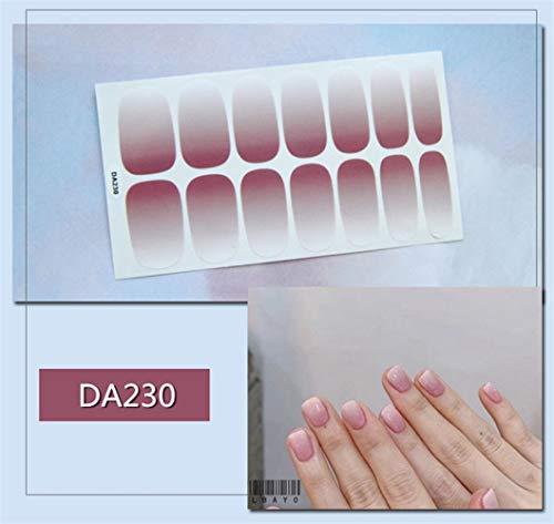 HDDWZH Nagelaufkleber,14 Tipps/Blatt Volle Deckung Wraps Nagellack Sticker Plain Farbverlauf Rot Design Nailart Maniküre Tipps