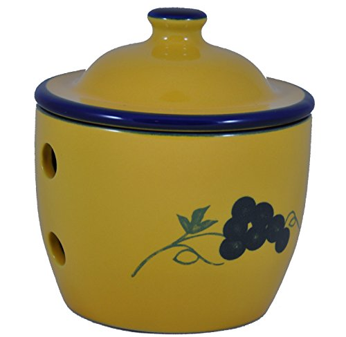 Cooks Innovations Ceramic Garlic Keeper - Hand Painted With Decorative Grape Leaf Design - Blue & Yellow