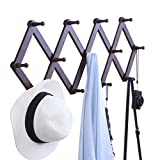 OROPY Wooden Expandable Coat Rack Hanger, Wall Mounted Accordion Pine Wood Hook for Hanging Hats, Caps, Mugs, Coats, Walnut Color