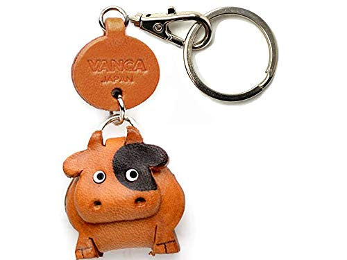 Cow Leather Animal Small Keychain VANCA Craft-Collectible Keyring Charm Pendant Made in Japan