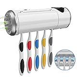 歯ブラシ除菌器 乾燥ファン付き USB充電式 家族用5本収納 認証取得 安全安心 UVランプ 長寿命 99.99%除菌 自動タイマー 壁掛け式 省スペース 静音 歯磨き粉ホルダー