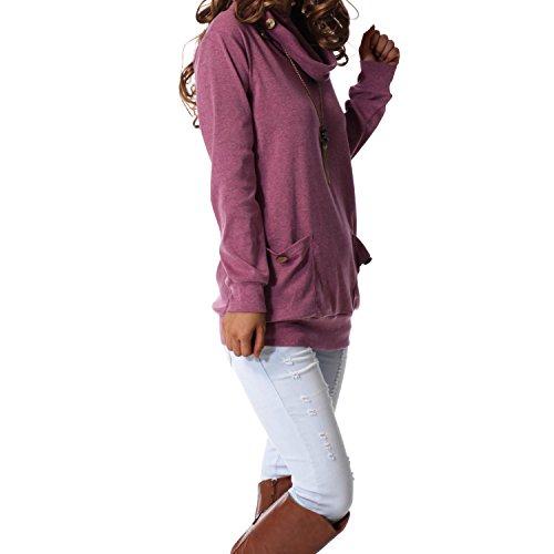 levaca Womens Tunic Long Sleeve Cowl Neck Casual Slim Tops Shirts Purple S