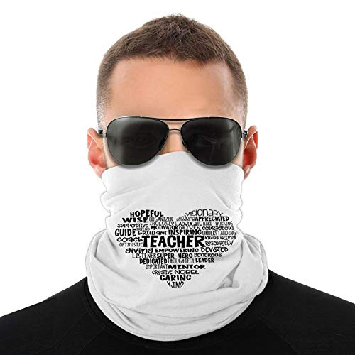 Teacher Heart Word Cloud Neck Gaiter Face Mask Cooling Breathable UV Shield Balaclava Bandanas Headband for Women Men