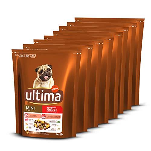 Ultima Croquettes pour Chien Mini Adulte Appétit Difficile Bœuf, Légumes et Fruits - 8 x 1 kg - Total: 8 kg