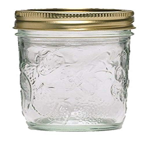 Ball Golden Harvest Mason Regular Mouth 8oz Jelly Jar 12PK 'Vintage Fruit Design', RM 8 Oz, Clear