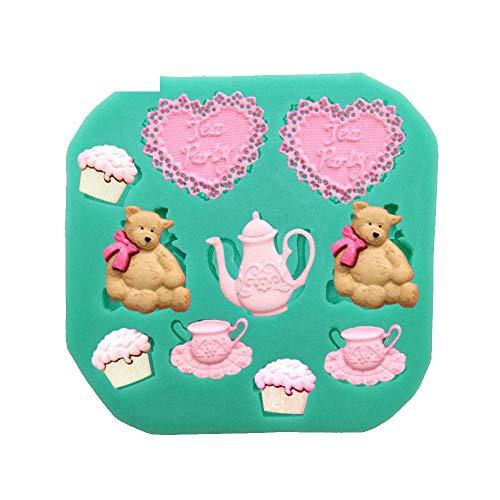 DACCU Mooie bruiloft cartoon hart beer siliconenvorm voor het versieren van taart rubberachtige chocoladebakvorm polymeer kleigereedschappen F0226AX