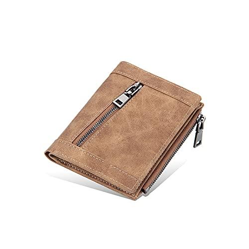male wallets WangchngqingNQB Men's Wallet, Men Short Wallets Card Holder Solid Fashion Zipper Men Leather Purse Coin Pocket Male Purse (Color : D)