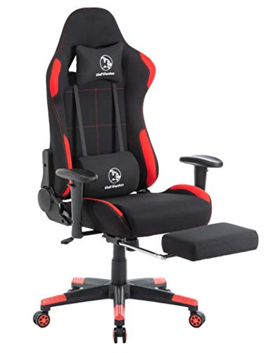 Gaming Chair Ergonomic Computer Game Chair Seat Height Adjustment Recliner Swivel Rocker E-Sports Office Chair with Headrest and Lumbar Pillow (Fabric, Red/Black with Footrest) chair footrest gaming