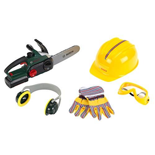 Theo Klein 8532 Sierra de cadena Bosch con accesorios, Sierra a pilas con función de luz y sonido, Incluye guantes, orejeras, gafas de seguridad y casco, Medidas del embalaje: 40 cm x 16 cm x 36,5 cm