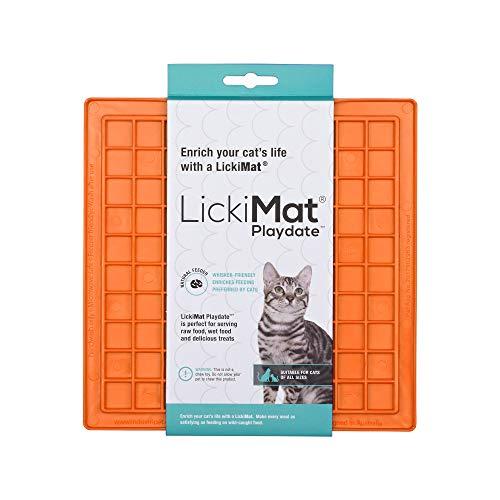 Lickimat Classic Playdate, Alimentador lento para gatos para tédio felino e redução de ansiedade; Perfeito para alimentos, petiscos, iogurte ou manteiga de amendoim Alternativa divertida para uma tigela ou prato de alimentação lenta, laranja