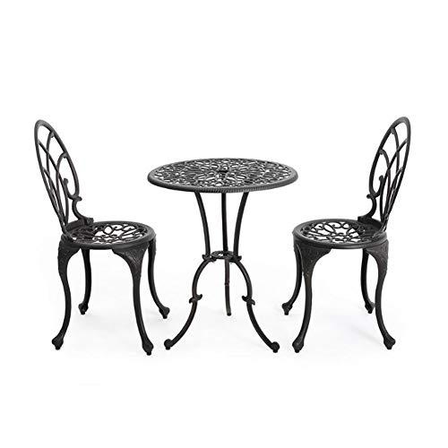 Zidao - Juego de 3 piezas de jardín, juego de bistró de aluminio fundido con 2 sillas, muebles de jardín antiguos para balcón y terraza, bronce