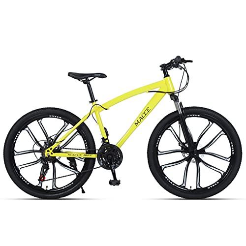 LHQ-HQ Bicicleta De Montaña para Adultos, Rueda De 26', 24 Velocidades, Suspensión De Horquilla, Freno De Disco, Bicicletas MTB Adecuadas para Hombres/Mujeres/Adolescentes,Amarillo