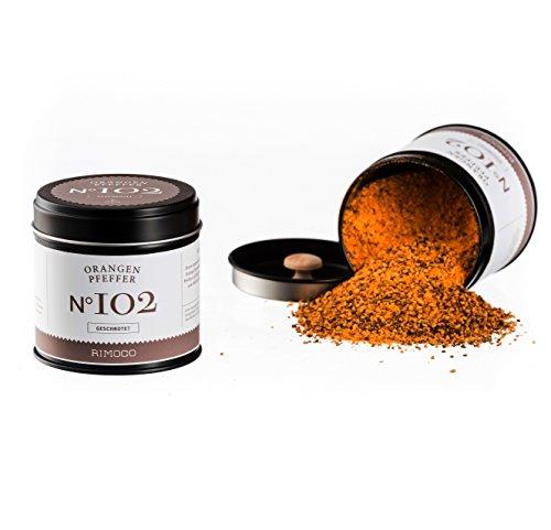 Bio Orangen Pfeffer N°102 - fruchtig frische Pfeffermischung mit feiner Orangennote, in eleganter Gewürzdose mit doppeltem Aromadeckel, Inhalt: 70g