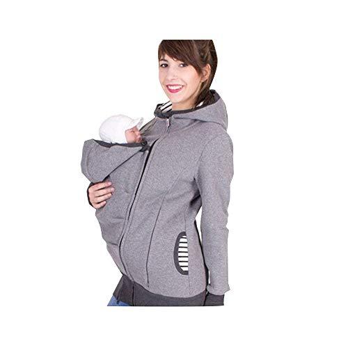Baby Carrier Hoodies Mäntel 2 In 1 Frauen Mutterschaft Sweat-Shirts Fleece Känguru-Tasche Tragejacke Känguru Jacke für Mama und Baby Umstandswinterjacke Babyeinsatz Winter Tragejacke Grau M