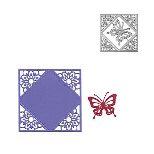 PIXIEY DIY Stanzform Metallschneiden Gestanzte Stanzformen Blumenrahmen Schmetterlingsschablonen Scrapbooking Prägepapier Albumkarten Dekoration Schablonenstempel