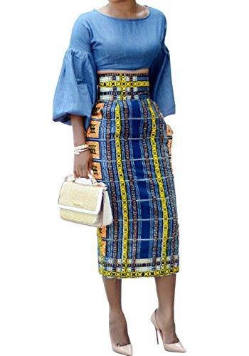 Chellysun Women African Printed Skirt Knee Length Midi Pencil Skirt Slim Fit Skirt With Back Slit, Navy, Large