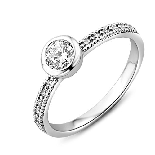 Miore women's 925 sterling silver solitaire engagement ring with zirconia Silver