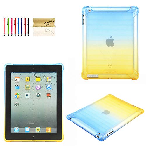 Case for 9.7 inch iPad 2 3 4, Casii Ultra Lightweight Transparent Flexible Soft TPU Silicon Back Cover Shockproof Protective Slim Shell for Apple iPad 2nd/ 3rd/ 4th Generation - Blue & Yellow