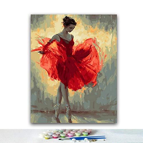 Lonfenner verf op cijfersvoor volwassenen DIY Ballerina Digitale Schilderij Kleurplaten met Digitale Samenstelling Abstract Decoratieve Olieverfschilderij