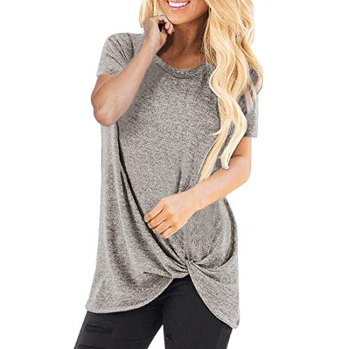 DOLAA Camiseta de Mujer Tops de Manga Corta Camiseta de Color sólido con Cuello en V Dobladillo Largo Casuales de Verano Blusa básica Informal con Cuello Redondo Blusa de Mujer Blusa Suelta Trenzada