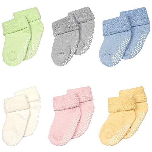 Adorel Calcetines Termicos Antideslizantes para Bebé 6 Pares Multicolor 0-12 Meses (Tamaño del Fabricante S)