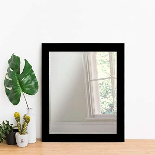 Art Street Decorative Wall Mirror Black Flat Small Size/Looking Glass Inner Size 10 x 12 inch, Outer Size 12 x 14 inch