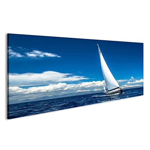 islandburner Cuadro Cuadros Navegación. Nave de Yates con Velas Blancas en mar Abierto. Barcos de Lujo. sobre Lienzo Formato Grande Listo para Colgar estupendo