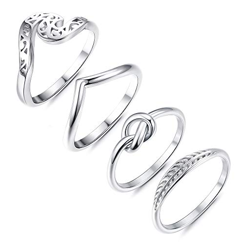 LOLIAS 4 Pcs Stainless Steel Knot Wave Ring for Women Stackable Simple Cute Thumb Rings Set,Size 11